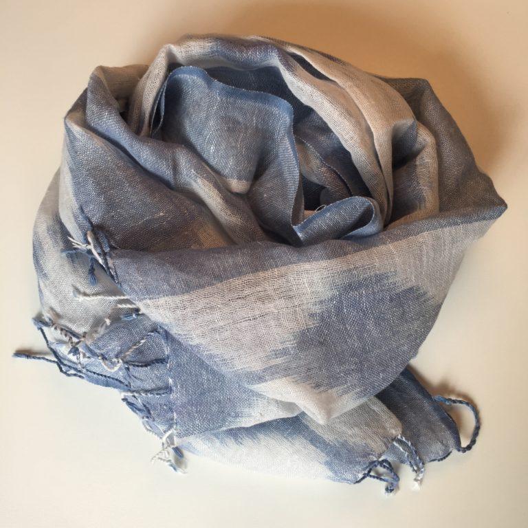 ikat-linen-scarf-blue