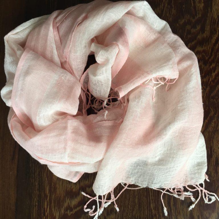 ikat-linen-scarf-pink