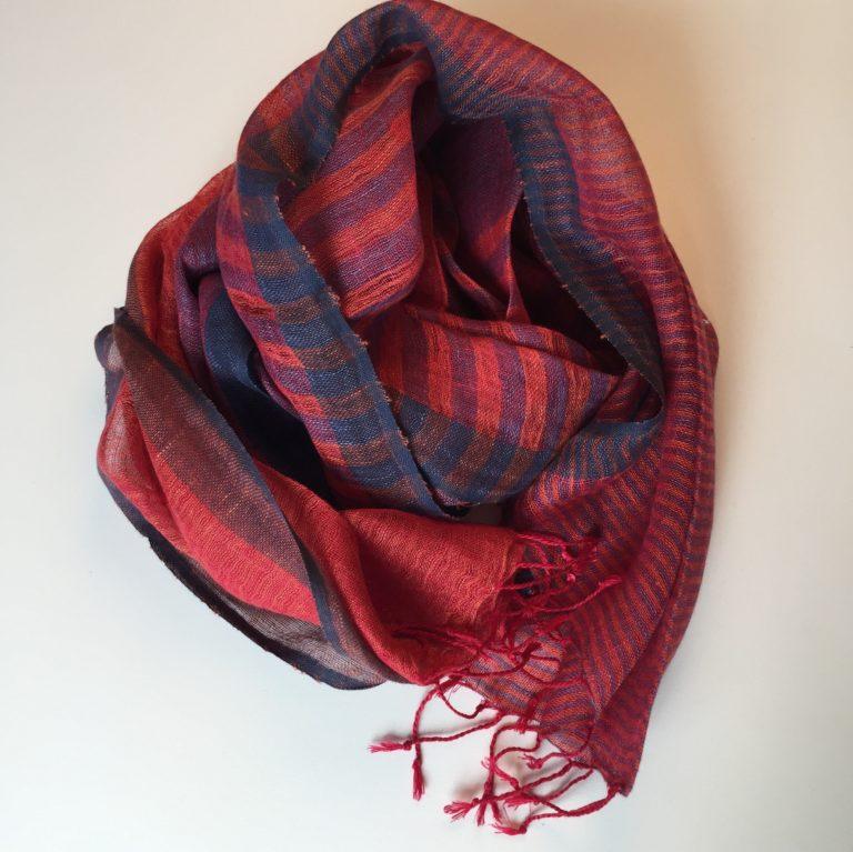 stripe-linen-scarf-red