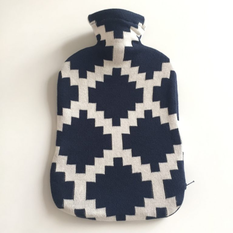 navy inca hot water bottle