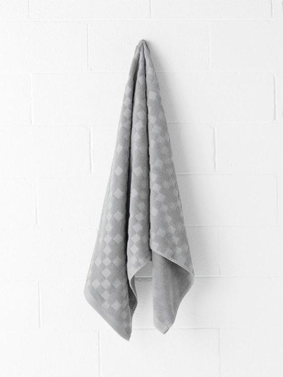 check bath towel grey marle