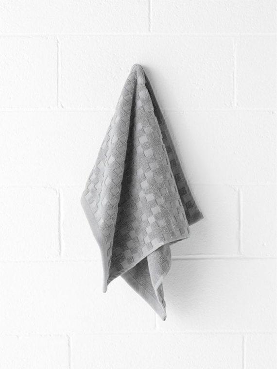 check hand towel grey marle