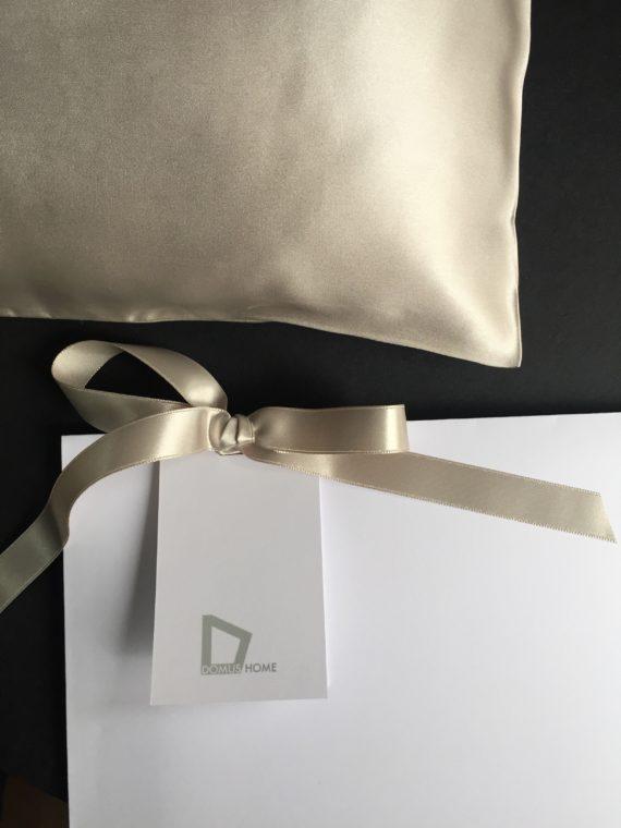 Taupe silk pillowcase